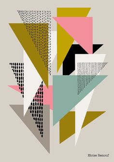 Love it! Interesting color scheme and overlaps. Simple Shapes No4 open edition giclee print by EloiseRenouf