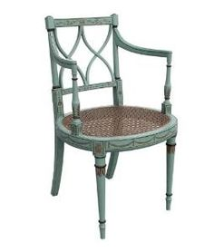 Painted Blue Chair with a Cane Seat