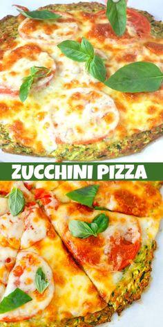 Low Calorie Cheese, Low Calorie Pizza, Calories Pizza, Zucchini Pizza Recipes, Zucchini Pizza Crust, Vegetable Recipes, Vegetable Pizza, Easy Baking Recipes, Low Carb Recipes