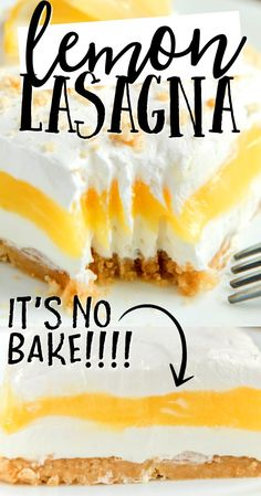 May 2020 - The perfect combination of sweet, tart and creamy, this lemon lasagna is one of our favorite no-bake recipes — using cream cheese, cool whip, and lemon pudding. A golden Oreo crust and topping adds just the right amount of crunch. Lemon Desserts, Lemon Recipes, Köstliche Desserts, Baking Recipes, Sweet Recipes, Delicious Desserts, Yummy Food, Lemon Curd Dessert, Pie Dessert