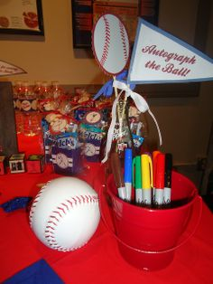 Autograph the ball- For all the guests to   sign! I love this idea w/ maybe a football that we can display in Baby Maxson's   Room!!!