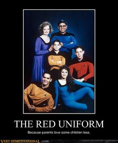 Would be funny if it was classic Trek uniforms.. but this is TNG so that kid is actually the one they love most. He's the captain.