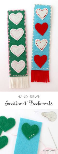 Make a cute, hand-stitched felt bookmark. This makes a adorable kid made gift or valentines craft for kids. Valentine's Day Crafts For Kids, Gifts For Kids, Sewing Hacks, Sewing Crafts, Sewing Ideas, Easy Felt Crafts, Felt Bookmark, Valentine Day Crafts, Kids Valentines