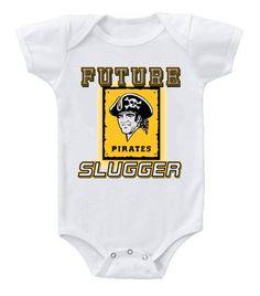 50ae3b339 New Cute Funny Baby One Piece Bodysuit Baseball Future Slugger MLB  Pittsburgh Pirates