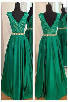 Decent V Neck Long Party Dresses Sleeveless Lace Beaded Satin Princess A Line Prom Evening Formal Gowns