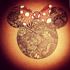 Disney inspired Minnie Mouse Zentangle