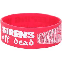 Sleeping With Sirens Better Off Dead Rubber Bracelet Hot Topic ($4.90) ❤ liked on Polyvore featuring jewelry, bracelets, red jewelry, rubber bangles, red bangles and rubber jewelry