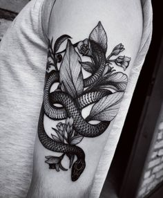 Snake With Flowers Tattoo