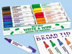 Write & Wipe Broad-Tip Markers - Class Pack at Lakeshore Learning Says Corn and other allergen free...