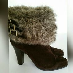 """Gorgeous Fur Buckle Boots Beautiful brown faux suede boots with faux fur top & side buckle detail (gold) . The fur measures approximately 5"""" & the heel is 4"""". Zips up the inside. Worn a couple of times & they are in excellent condition. Perfect Fall shoe! Marco Santi Shoes Heeled Boots"""