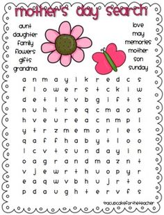 Mother's Day Word SearchPlease be sure to check out {a mother's day craftivity} to mom, with a cherry on top! here on TpT!...