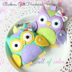Barbara Handmade...: Kipiące kolorem sówki / Full of colors | Owls On Bright Colours