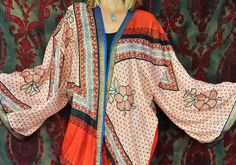 Hippie Kimono Flower People Coat Gypsy India Sheer by HippieWild