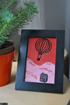 Items similar to hot air balloon - linocut original print on red paper on Etsy Red Paper, Linocut Prints, Balloons, Printing, Unique Jewelry, Frame, Handmade Gifts, Illustration, Crafts