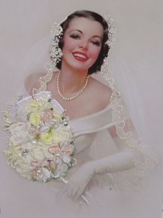 Embroidered Bride W/Bouquet.