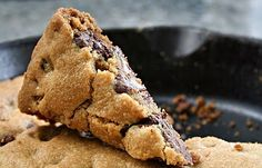 A big chocolate-chip cookie, baked in a cast-iron skillet...YUM!