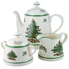 Spode Christmas Tree pattern tall teapot, creamer and sugar, porcelain, UK Christmas Tea Party, Christmas China, Spode Christmas Tree, Christmas Dishes, Christmas Tablescapes, Xmas, Green Christmas, Vintage Christmas, Christmas Dinnerware
