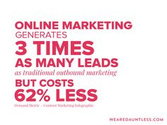 Online Marketing generates 3 times as many leads as traditional outbound marketing, but costs less. Dauntless Quotes, Content Marketing, Online Marketing, Make Business, Web Design Company, Infographic, Inspirational Quotes, Times, Traditional
