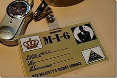"Make ID badges for the ""secret agents"" or at least one for the guest of honor."