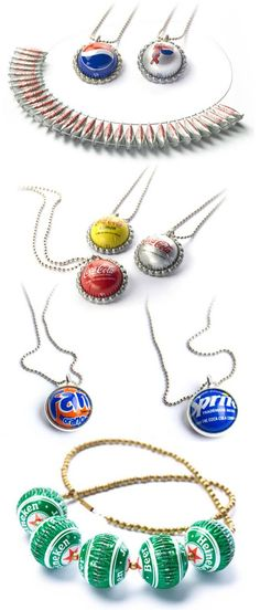 Recycled Bottle Caps Jewelry- beads and cabs