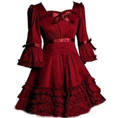 Partiss Women Gothic Square Neck Trumpet Sleeve Multi Layers Ruffles Lolita DressChinese SBurgundy ** You can find more details by visiting the image link.