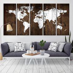 53441 Large Wall Art World Map Canvas Print Watercolor World Map Travel Canvas Print Modern XXL - 5 Piece - 5-10x24