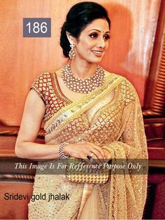 Buy Sridevi-Gold-Jhalak Saree Bollywood Style Online: justforbuy.com