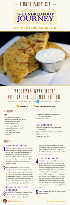 """Vadouvan Naan Bread with Salted Coconut Butter Recipe from the movie """"The Hundred-Foot Journey"""""""