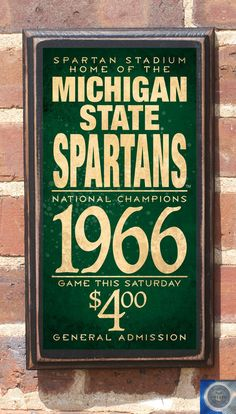Michigan State Spartans Antique Finish Vintage Style by CrestField
