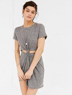 Cut Out Gray Short Sleeve Dress