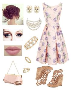 """""""Old Fashioned Garden Party"""" by dancingmarionette ❤ liked on Polyvore featuring Chi Chi, Charles by Charles David, Emanuel Ungaro, Lele Sadoughi, Mawi, Christian Dior and LC Lauren Conrad"""