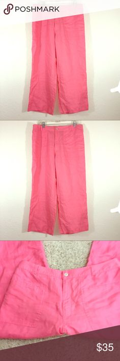 "Sigurd Olson So blue 100% Linen Capris 14 Very classy and machine washable plus tumble dry low!  Coral pink wide leg capris. Flat front with sewn pockets.  Waist band 17"" across front. 35"" long, thigh 11"" across, calf 10"" across. Sigrid Olsen Pants Capris"