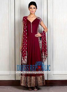 Berry Burgundy V-neck Cap Sleeve Dress Indian Designer Manish Malhotra Evening wear 2014