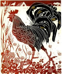 Olivia Clifton-Bligh. 'RED BREASTED OLD ENGLISH GAME COCK'  Illuminated linocut 58x66cm