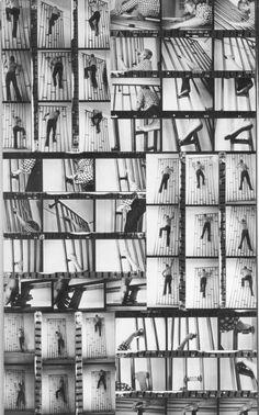 """Gina Pane: Planche contact de L'Escalade non anesthésiée, 1971. 190 x 335 mm. Gina Page 1971: Après fixation de """"l'objet-échelle"""" sur un pan de mur de l'atelier, déchaussée, mains nues, j'escaladerai de haut en large toute sa surface...L'escalade accomplie, j'aurai les extrémités supérieures et inférieures meurtries. Le bandage qui m'aura servi à panser les blessures sera renfermé dans une petite vitrine avec la fiche de mon groupe sanguin..."""