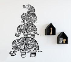 Animal Wall Decal Elephant Family Decals Indian Boho Bedding Home Nursery Yoga Studio Decor Bedroom Dorm Vinyl Sticker Wall Decals For Bedroom, Vinyl Wall Decals, Bedroom Decor, Elephant Artwork, Yoga Studio Decor, Nursery Stickers, Family Wall Decor, Animal Wall Decals, Elephant Tattoos