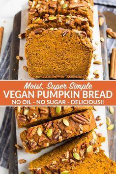 Healthy Pumpkin Bread, Healthy Pumpkin Desserts, Pumpkin Recipes No Sugar, Vegan Pumpkin Muffin, Savarin, Vegan Bread, Vegan Desserts, Dessert Recipes, Recipes Dinner