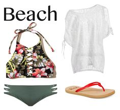 """""""Beach #3"""" by emmagriezmann ❤ liked on Polyvore featuring Hollister Co., Mikoh and Roxy"""