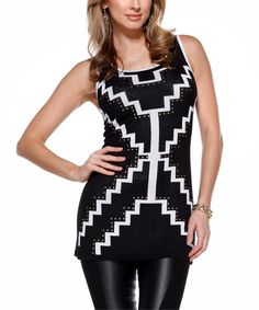Loving this Belldini Black & White Zigzag Stud Embellished Tank on #zulily! #zulilyfinds