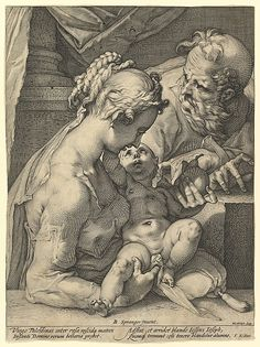 Hendrick Goltzius, 1558-1617, Dutch, The Holy Family, n.d.  Engraving.  Metropolitan Museum of Art, New York.  Northern Mannerism.