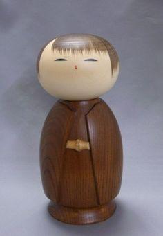 Beautiful Japanese Sosaku Kokeshi Doll 「寒い朝 Samuiasa」 by Watanabe Masao