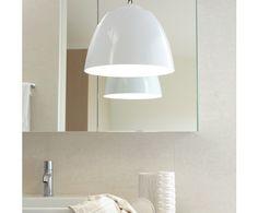Beacon Lighting - Alix modern 1 light enamalled metal pendant in white with black flex Kitchen Lighting, Home Lighting, Pendant Lighting, White Light, Light Up, Beacon Lighting, Wall Lights, Ceiling Lights, Modern Pendant Light