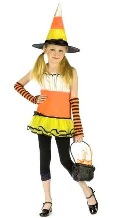 Girls Cany Corn Witch Costume by Fun World - Size 12 / 14