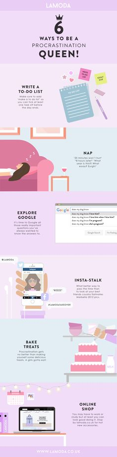 6 WAYS TO BECOME A PROCRASTINATION QUEEN! #INFOGRAPHIC #GRAPHICS #PROCRASTINATION #QUEEN