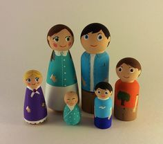 SALE- Wooden Peg Doll Family, Hand Painted Peg People, Dollhouse Figures