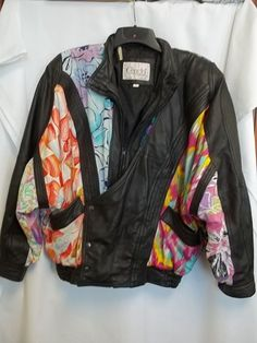Cencini London New York Leather & Fabric Jacket 80's Style Wearable Art #Cencini