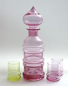 sulttaani by nanny still Glass Bottles, Perfume Bottles, Genie Bottle, Colored Vases, Art Of Glass, Glass Collection, Glass Design, Ceramic Pottery, Scandinavian Design