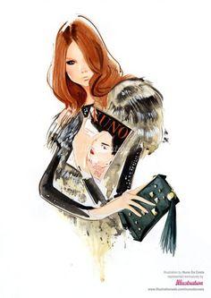 fur and a fashion magazine