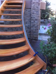 Solid Fir curved exterior staircase