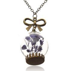 Sale 12% (3.76$) - Women Dry Flower Glass Wish Bottle Sweater Chain Necklace
